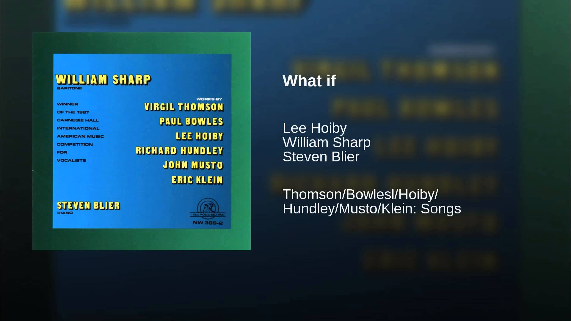 Lee Hoiby:  What If